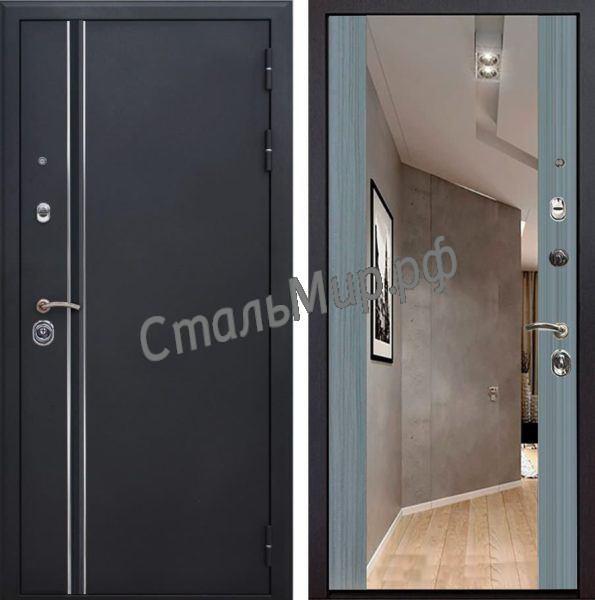 Дверь порошковое напыление и МДФ с зеркалом арт.ХП-3