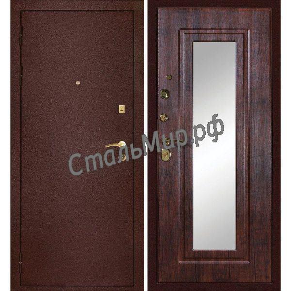 Дверь порошковое напыление и МДФ с зеркалом арт.хп-11