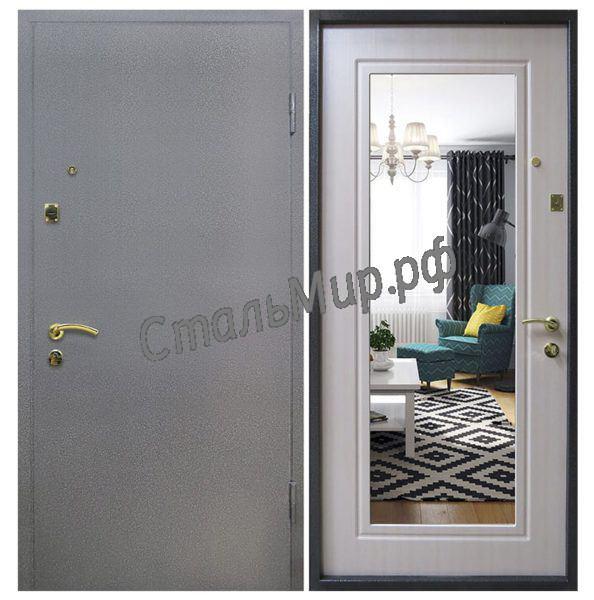 Дверь порошковое напыление и МДФ с зеркалом арт.хп-2
