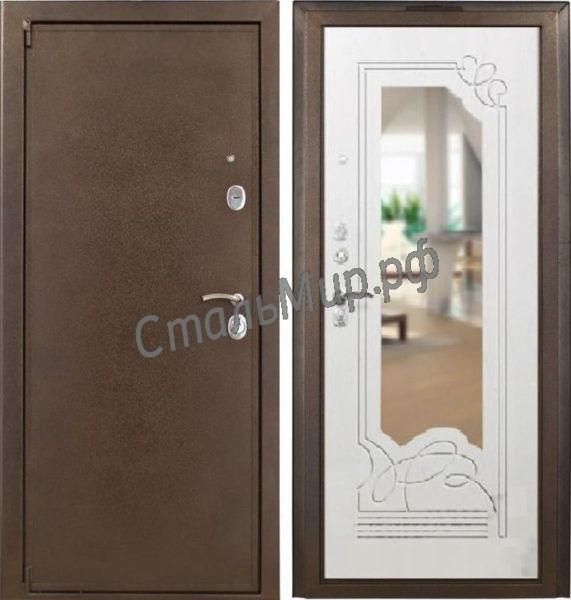 Дверь порошковое напыление и МД с зеркалом  арт.двк-16