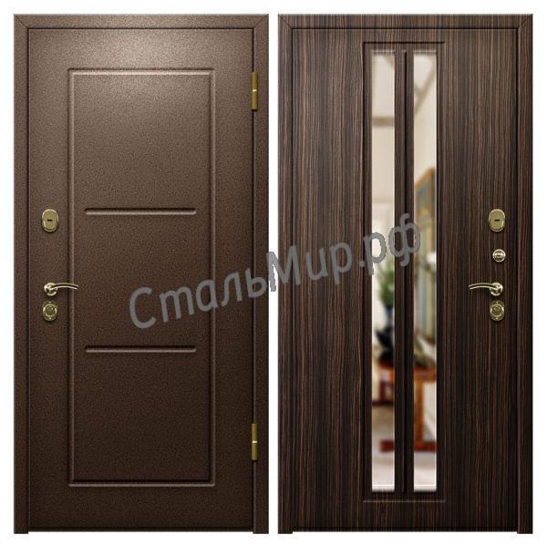 Дверь порошковое напыление и МДФ с зеркалом  арт. пн-5