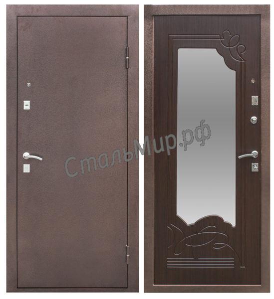 Дверь порошковое напыление и МДФ с зеркалом ( трёхконтурная) арт. тку-9