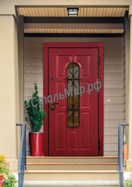 Двери cо стеклом и ковкой