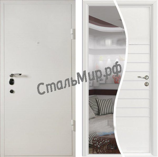 Дверь порошковое напыление и МДФ с зеркалом  арт. дз-2